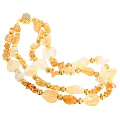 Unique Statement Citrine Druzy Quartz Clasp Necklace