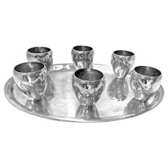 Unique Sterling Silver Liquor Set of 6 Cups and 1 Oval Tray