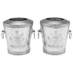 Unique Sterling Silver Pair of Wine Coolers by i. Franks in 1995 for Prudential