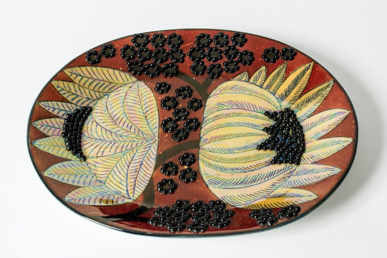 Finnish Unique Stoneware Platter by Birger Kaipiainen for Arabia, Finland, 1960s For Sale