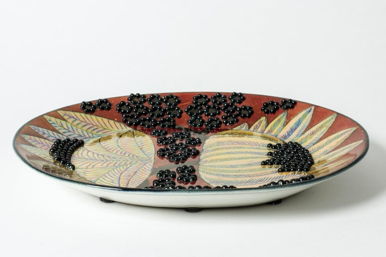 Glazed Unique Stoneware Platter by Birger Kaipiainen for Arabia, Finland, 1960s For Sale