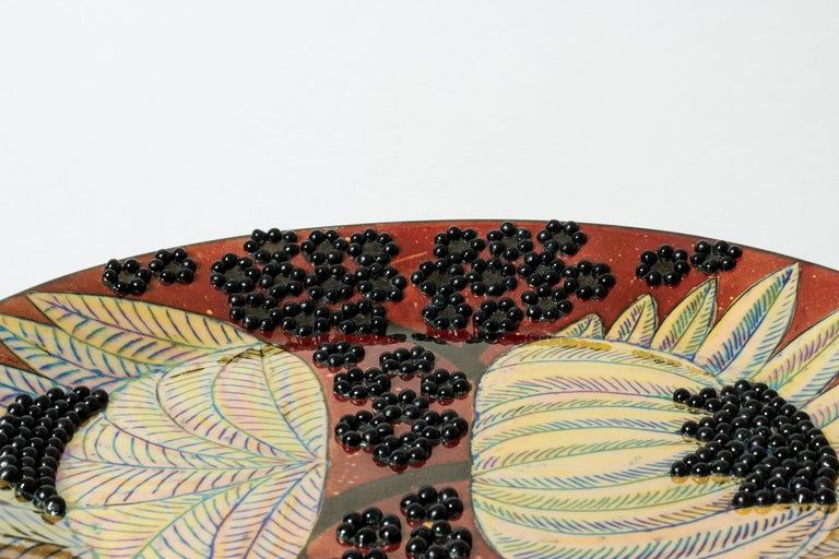 Unique Stoneware Platter by Birger Kaipiainen for Arabia, Finland, 1960s In Good Condition For Sale In Stockholm, SE