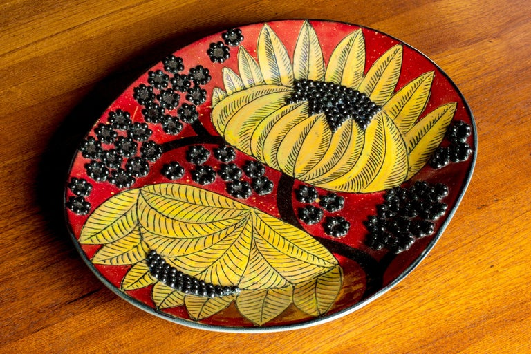 Unique Stoneware Platter by Birger Kaipiainen for Arabia, Finland, 1960s For Sale 1