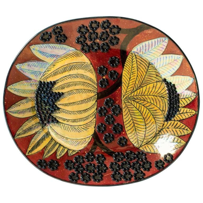 Unique Stoneware Platter by Birger Kaipiainen for Arabia, Finland, 1960s For Sale