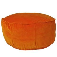 Unique Style Vintage Velvet Orange Pouf Floor Cushion