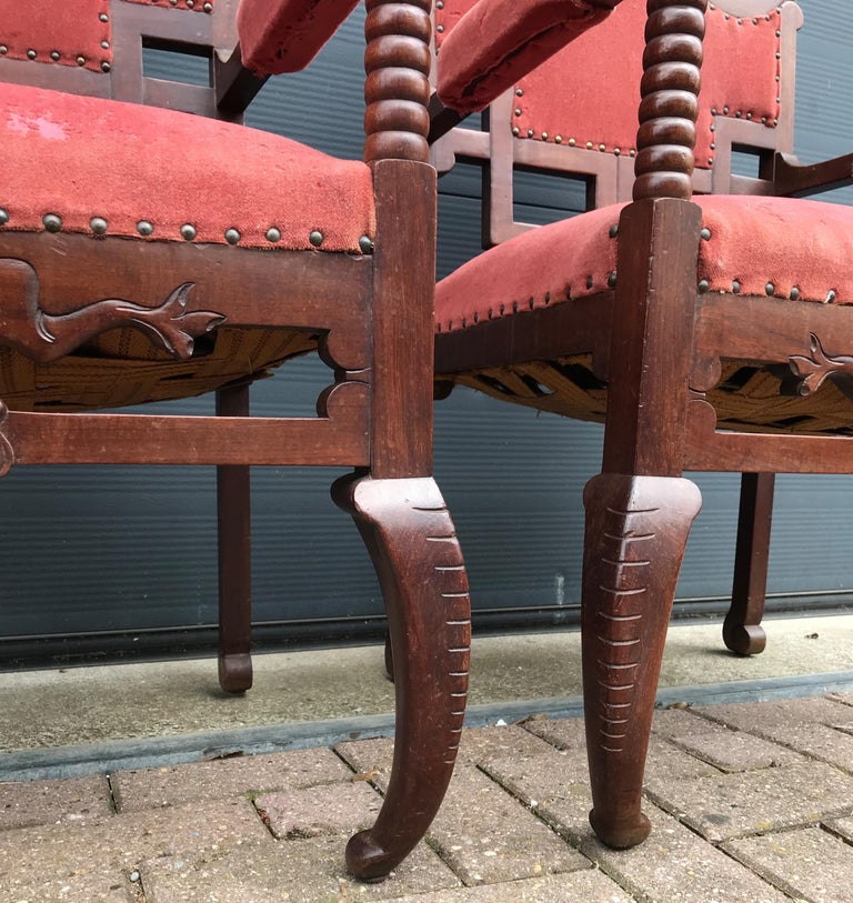 Unique & Stylish Pair of Japonisme Armchairs W. Fish / Dragon Armrest Sculptures For Sale 12