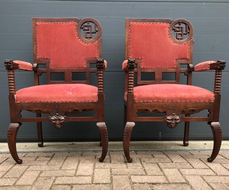 Impressive and highly stylish set of handcrafted chairs from the late 1800s.   This rare pair of chairs is as stable as the day it was made and the striking wood is in good condition also. The solid hardwood frames of these unique and beautifully