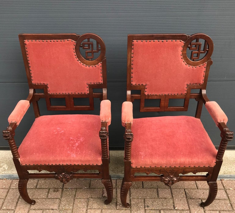 French Unique & Stylish Pair of Japonisme Armchairs W. Fish / Dragon Armrest Sculptures For Sale