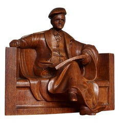 Unique & Stylish Sculpture of a Seated Scholar / Academic Made of Solid Teakwood
