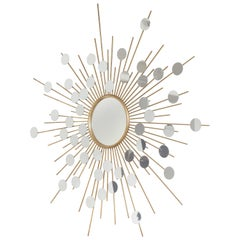 Unique Sunburst Mirror with Spokes of Smaller Mirrors