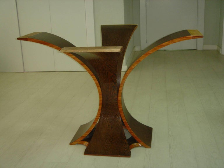 20th Century Unique Table in Palmwod and Mahogany, French, 1970 For Sale
