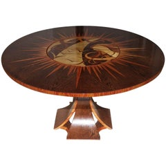 Unique Table in Palmwod and Mahogany, French, 1970
