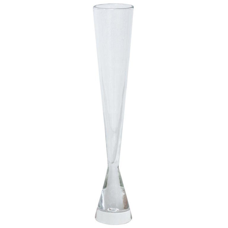Unique Tall Glass Vase by Bengt Orup, Sweden, 1950s For Sale
