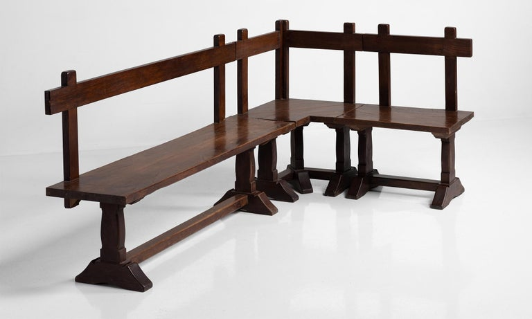 Constructed in oak, tavern table with 3 part custom corner bench.