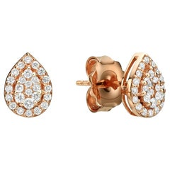 Unique Teardrop Stud Diamond Earrings 0.34 Carat 18K Gold Solid Gold Earrings