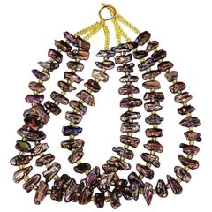 Gemjunky Unique Triple Strand Mauve Iridescent Pearl Necklace