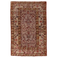 Unique Turkish Oushak Rug, Purple and Red Field, High Low Pile