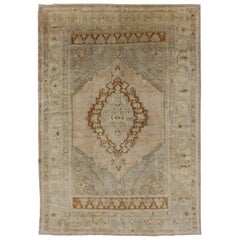 Unique Turkish Oushak Rug with Muted Colors in Taupe, Gray, Ice Blue and L.Green