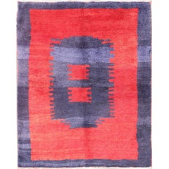 Unique Turkish Tulu Rug with a Modern Design in Blue and Red