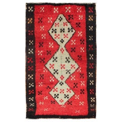 Unique Turkish Tulu Rug with Cream Medallions Red Background Chocolate Border
