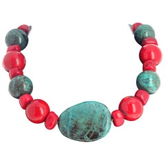 Unique Natural Turquoise and Bamboo Coral Necklace