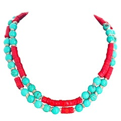 Unique Elegant Turquoise and Red Bamboo Coral Double Strand Necklace