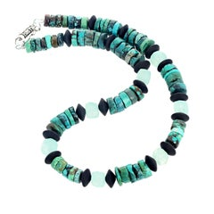 "Gemjunky Art Deco 16"" Turquoise, Faceted Onyx Discs & Quartz Necklace"