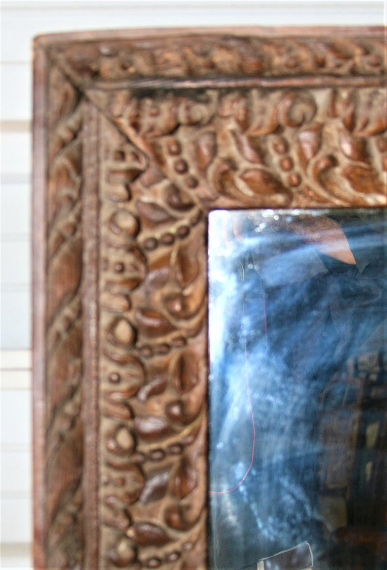 Indian Unique Unmatched Mirror Using Highly Carved Window Frame of a Colonial Era Home. For Sale