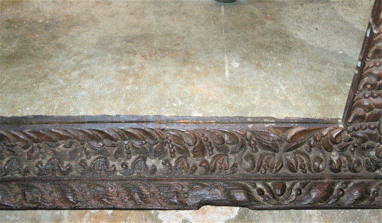 Teak Unique Unmatched Mirror Using Highly Carved Window Frame of a Colonial Era Home. For Sale
