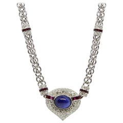 Unique Vacheron Constantin Diamond Ruby and Sapphire Necklace and Earrings Set