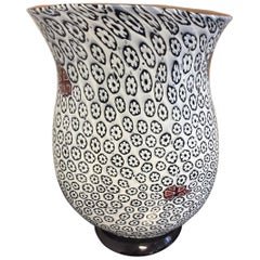 Unique Vase in Floral Pattern White and Black by Tino Rossi Murano
