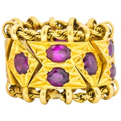 1950's Mid-Century 7.50 Carats Ruby 18 Karat Gold Link Articulated Band Ring