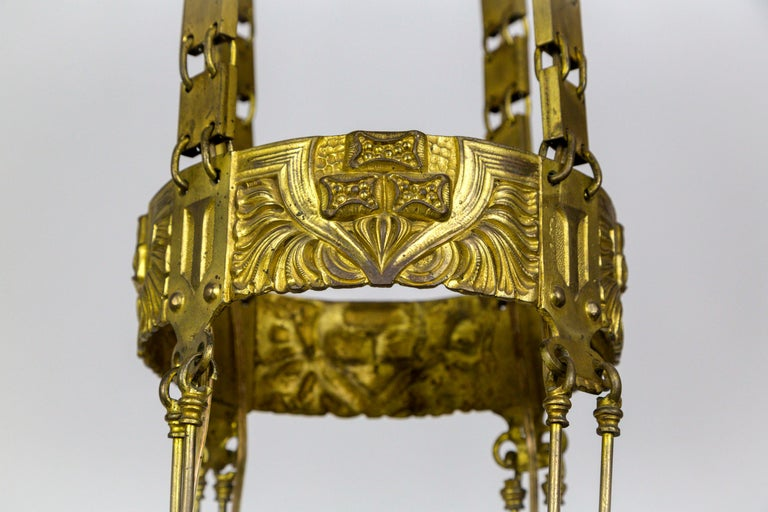 Early 20th Century Unique Vienna Secession Brass Nouveau Chandelier with Square Chain and Foliage For Sale