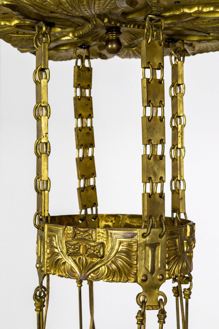 Unique Vienna Secession Brass Nouveau Chandelier with Square Chain and Foliage For Sale 4