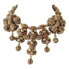 Unique Vintage Beaded Multi Pearl Gilt Statement Necklace