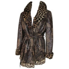 Unique Vintage belted Leopard Printed Fur Jacket