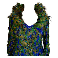 Unique Vintage Silk with Feather Decoration Evening Jacket by Liz Mairaux, 2008