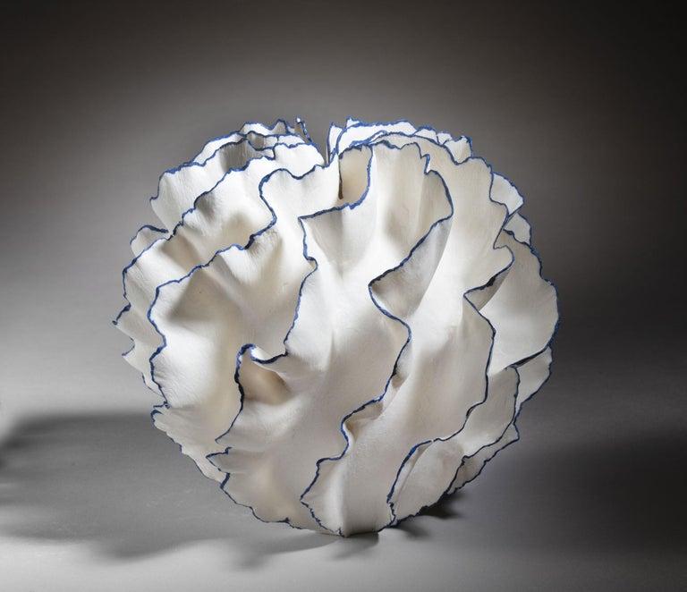 Danish Unique White and Blue Ceramic Vase by Sandra Davolio For Sale