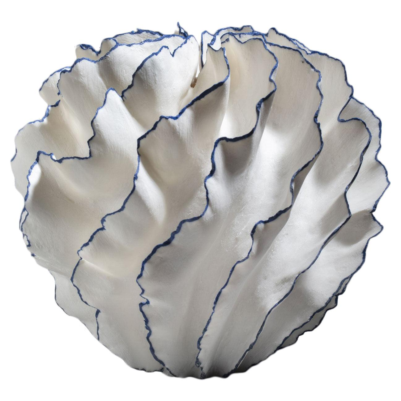 Unique White and Blue Ceramic Vase by Sandra Davolio