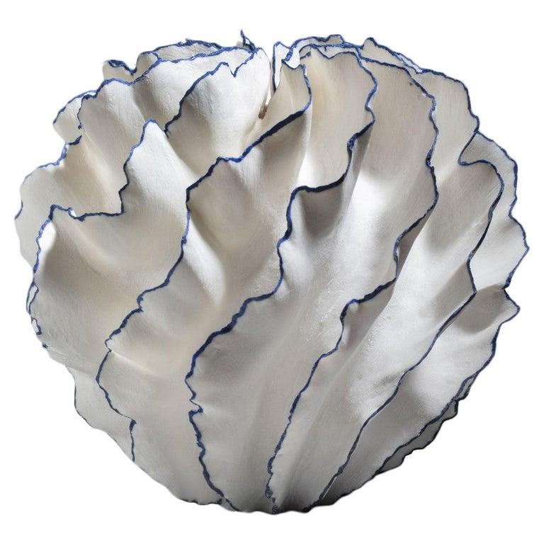 Unique White and Blue Ceramic Vase by Sandra Davolio For Sale