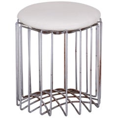 Unique White Round Bauhaus Chrome Stool, New High Quality Leather, 1930s