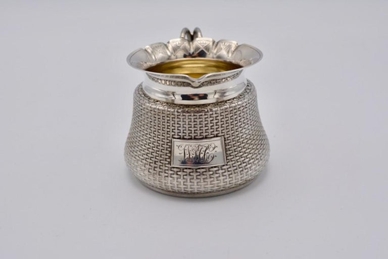 """Unique Wood and Hughes sterling silver Japaneseque basket-weave design tea set. Approx. total weight: 32 troy ounces. Teapot measures 5"""", Creamer 3"""" and sugar bowl 5.5"""" (including the handle).) In the form of traditional woven baskets. Beautiful"""