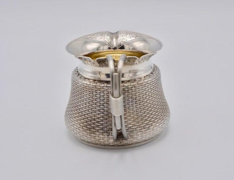 Victorian Unique Wood and Hughes 3-Piece Sterling Silver Japaneseque Basket-Weave Tea Set For Sale