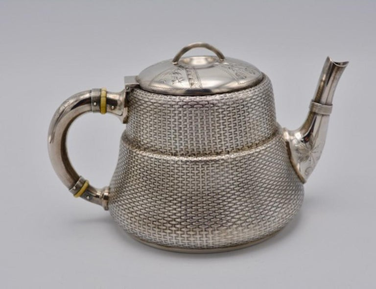 Hand-Crafted Unique Wood and Hughes 3-Piece Sterling Silver Japaneseque Basket-Weave Tea Set For Sale
