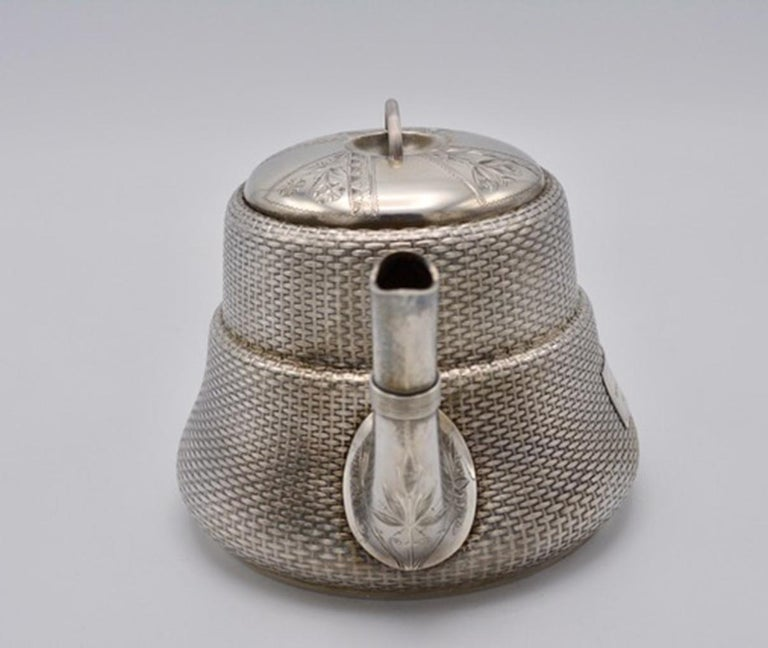 19th Century Unique Wood and Hughes 3-Piece Sterling Silver Japaneseque Basket-Weave Tea Set For Sale