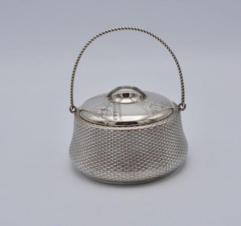 Unique Wood and Hughes 3-Piece Sterling Silver Japaneseque Basket-Weave Tea Set For Sale 1