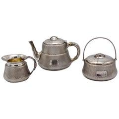 Unique Wood and Hughes 3-Piece Sterling Silver Japaneseque Basket-Weave Tea Set