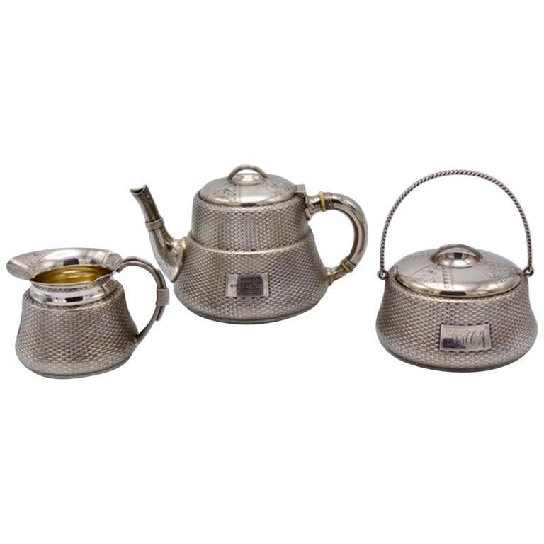 Unique Wood and Hughes 3-Piece Sterling Silver Japaneseque Basket-Weave Tea Set For Sale
