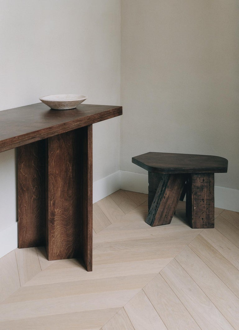 French Unique Wood Stool by Goons For Sale
