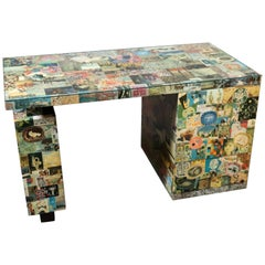 Unique Wrapped Collage Mid-Century Modern Artistic Writing Desk Table circa 1960